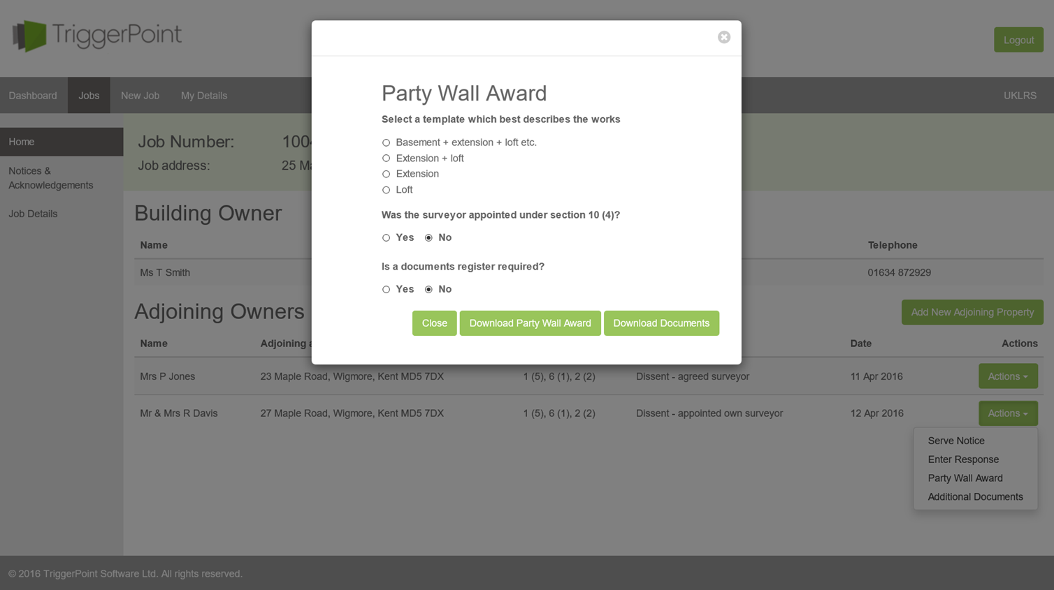 Party wall award templates triggerpoint sofware for Party wall act template